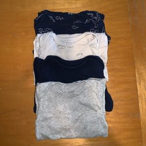 12M long sleeve onesie bundle -Navy/White/Gray